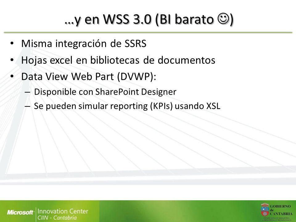 …y en WSS 3.0 (BI barato ) Misma integración de SSRS Hojas excel en bibliotecas de documentos Data View Web Part (DVWP): – Disponible con SharePoint D