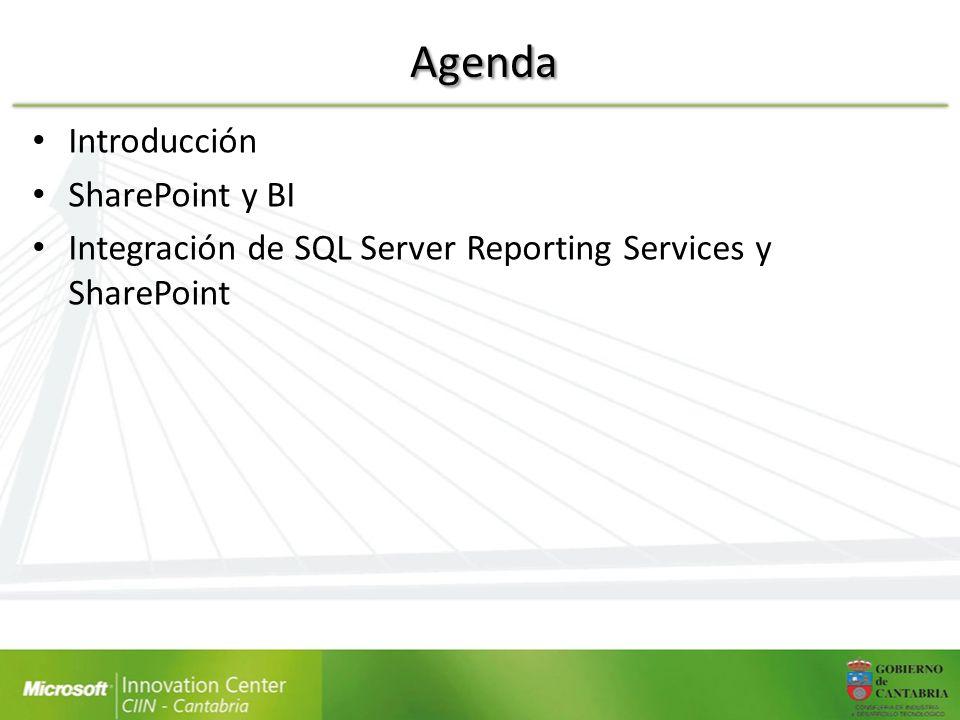 Agenda Introducción SharePoint y BI Integración de SQL Server Reporting Services y SharePoint