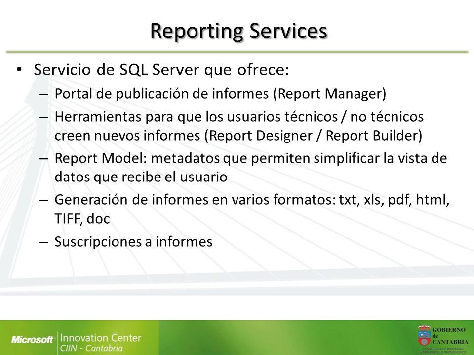 Reporting Services Servicio de SQL Server que ofrece: – Portal de publicación de informes (Report Manager) – Herramientas para que los usuarios técnic