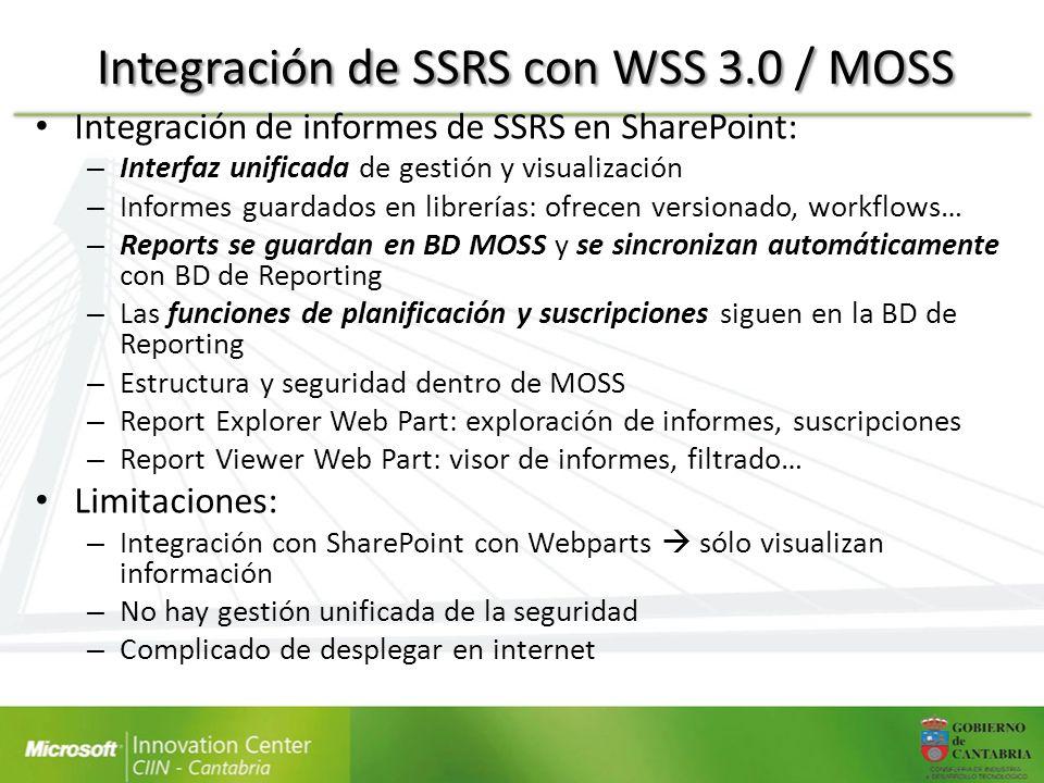 Integración de SSRS con WSS 3.0 / MOSS Integración de informes de SSRS en SharePoint: – Interfaz unificada de gestión y visualización – Informes guard