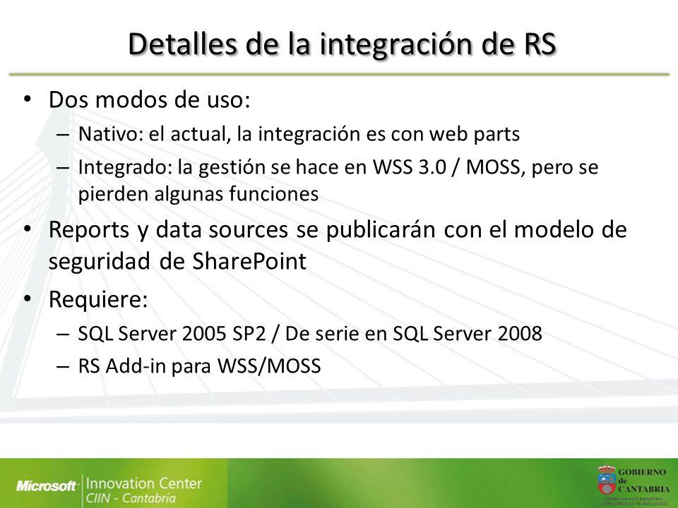 Detalles de la integración de RS Dos modos de uso: – Nativo: el actual, la integración es con web parts – Integrado: la gestión se hace en WSS 3.0 / M