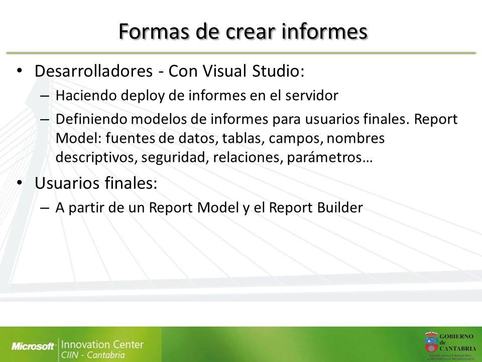 Formas de crear informes Desarrolladores - Con Visual Studio: – Haciendo deploy de informes en el servidor – Definiendo modelos de informes para usuar