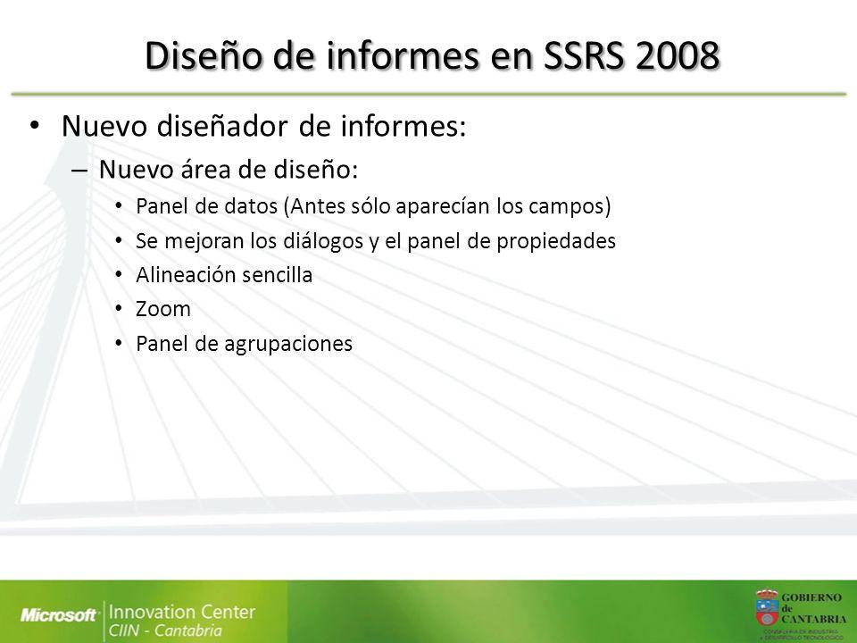 Diseño de informes en SSRS 2008 Nuevo diseñador de informes: – Nuevo área de diseño: Panel de datos (Antes sólo aparecían los campos) Se mejoran los d