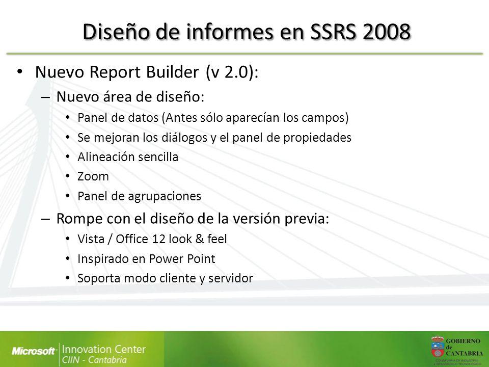 Nuevo Report Builder (v 2.0): – Nuevo área de diseño: Panel de datos (Antes sólo aparecían los campos) Se mejoran los diálogos y el panel de propiedad