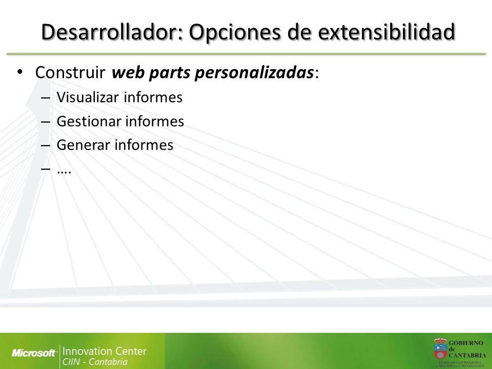 Desarrollador: Opciones de extensibilidad Construir web parts personalizadas: – Visualizar informes – Gestionar informes – Generar informes – ….