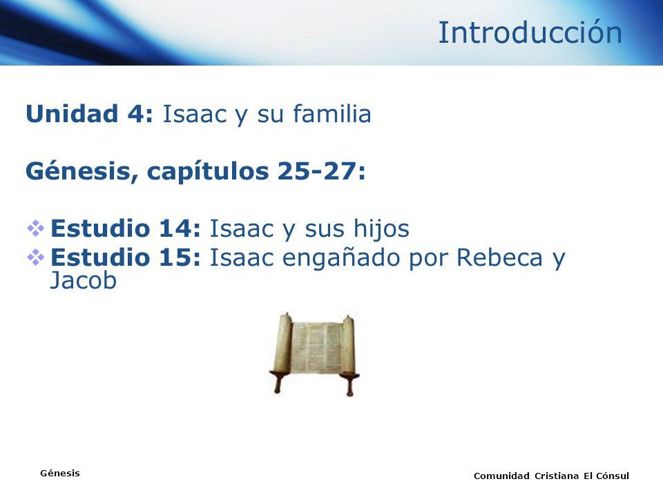 Unidad 4: Isaac y su familia Génesis, capítulos 25-27: Estudio 14: Isaac y sus hijos Estudio 15: Isaac engañado por Rebeca y Jacob Génesis Comunidad C