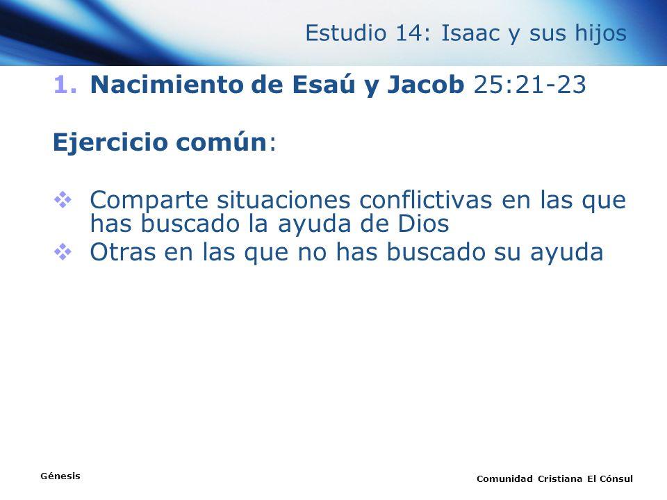 Estudio 14: Isaac y sus hijos 1.Nacimiento de Esaú y Jacob 25:21-23 Ejercicio común: Comparte situaciones conflictivas en las que has buscado la ayuda