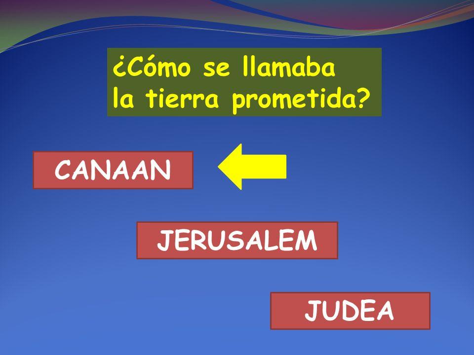 ¿Cómo se llamaba la tierra prometida? CANAAN JERUSALEM JUDEA