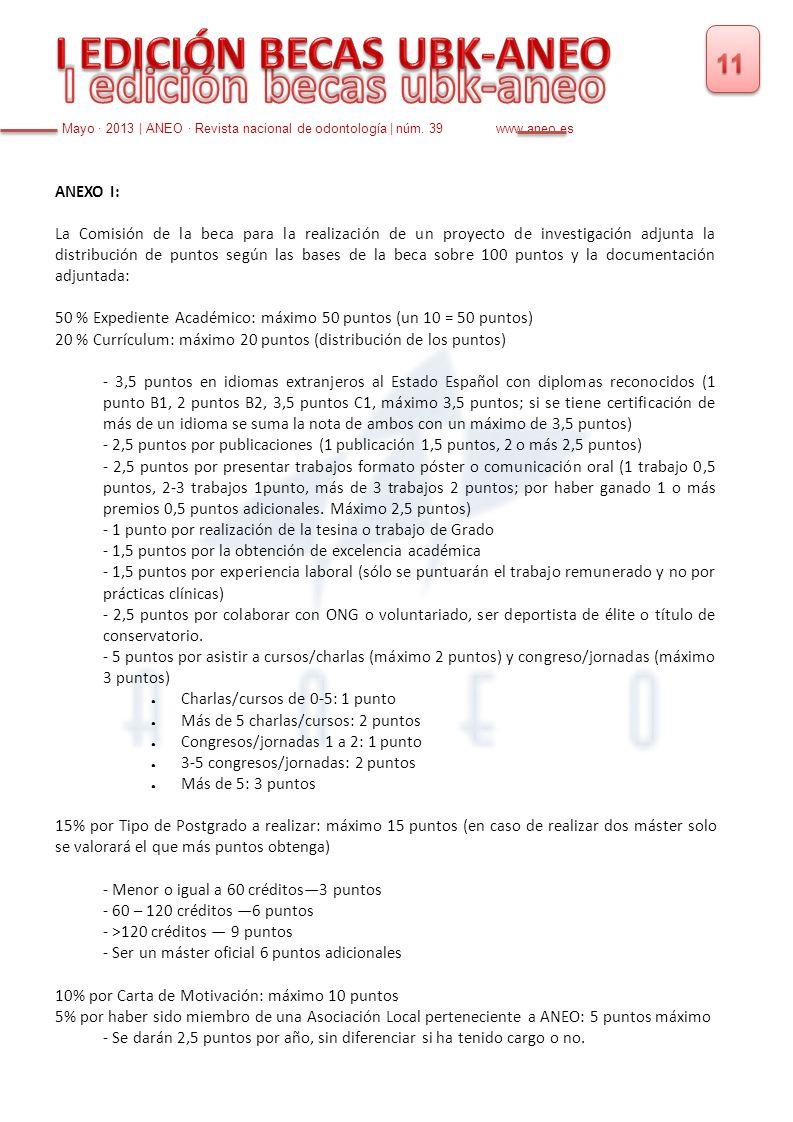 ANEXO I: La Comisión de la beca para la realización de un proyecto de investigación adjunta la distribución de puntos según las bases de la beca sobre