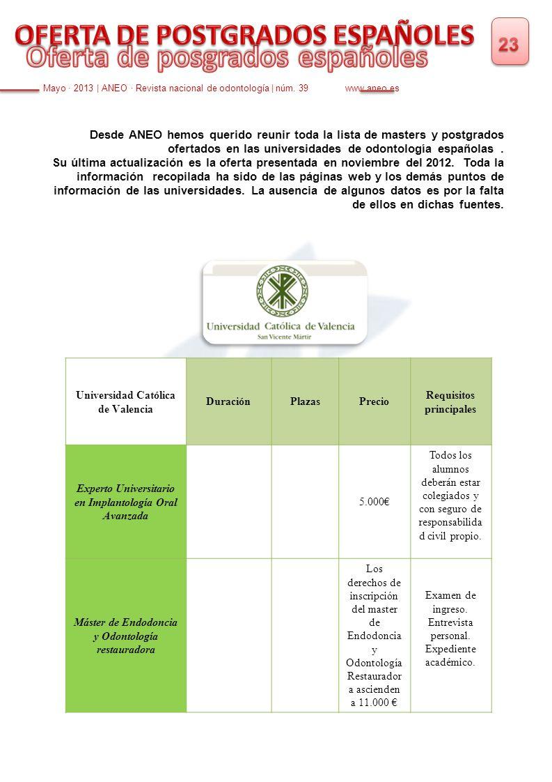 Desde ANEO hemos querido reunir toda la lista de masters y postgrados ofertados en las universidades de odontología españolas. Su última actualización