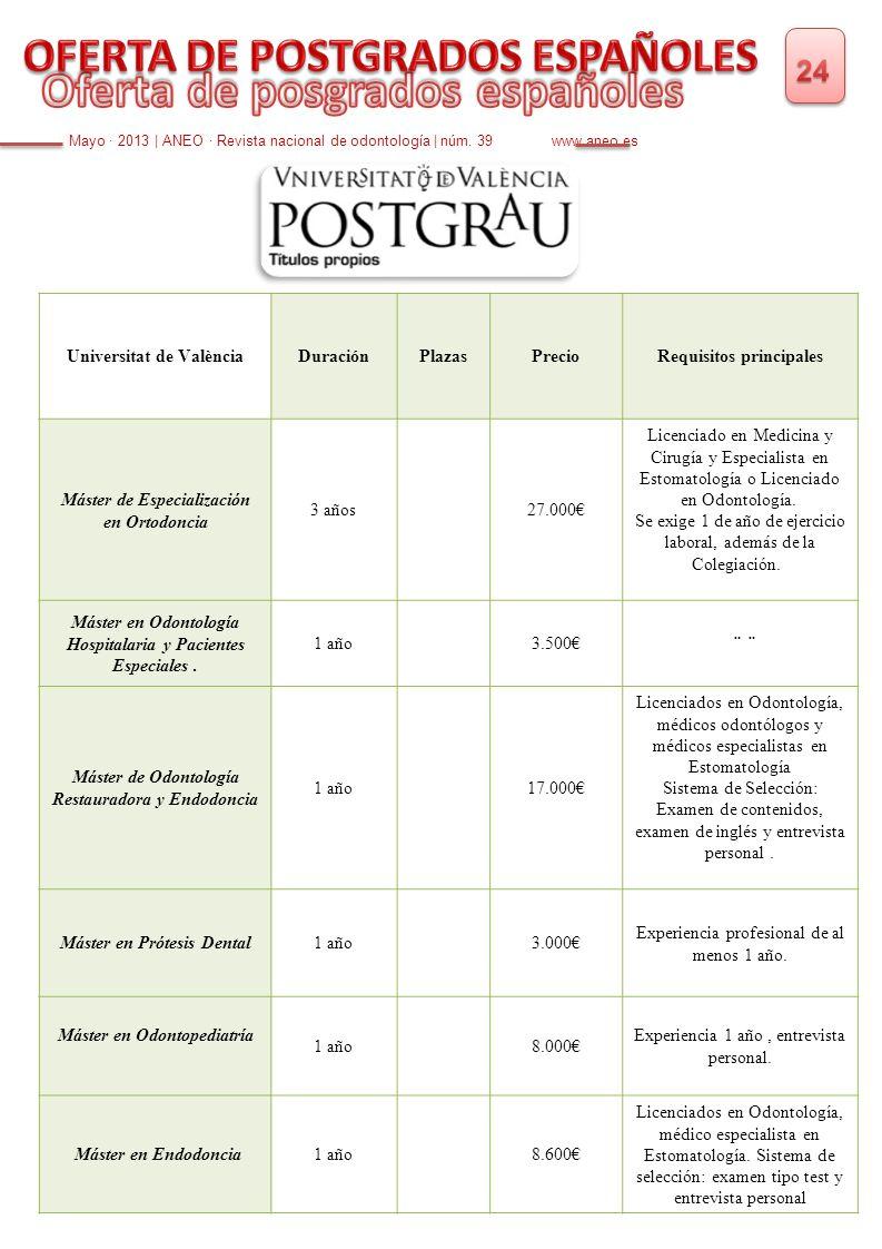 Mayo · 2013   ANEO · Revista nacional de odontología   núm. 39 www.aneo.es Universitat de ValènciaDuraciónPlazasPrecioRequisitos principales Máster de