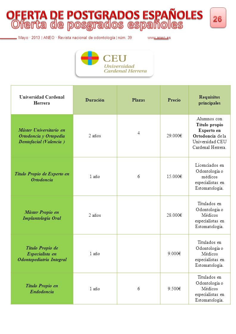 Mayo · 2013   ANEO · Revista nacional de odontología   núm. 39 www.aneo.es Universidad Cardenal Herrera DuraciónPlazasPrecio Requisitos principales Má