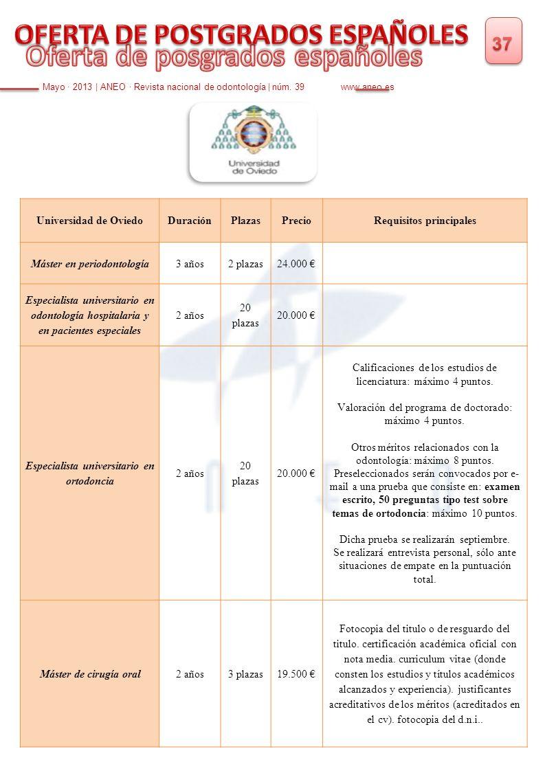 Mayo · 2013   ANEO · Revista nacional de odontología   núm. 39 www.aneo.es Universidad de OviedoDuraciónPlazasPrecioRequisitos principales Máster en p