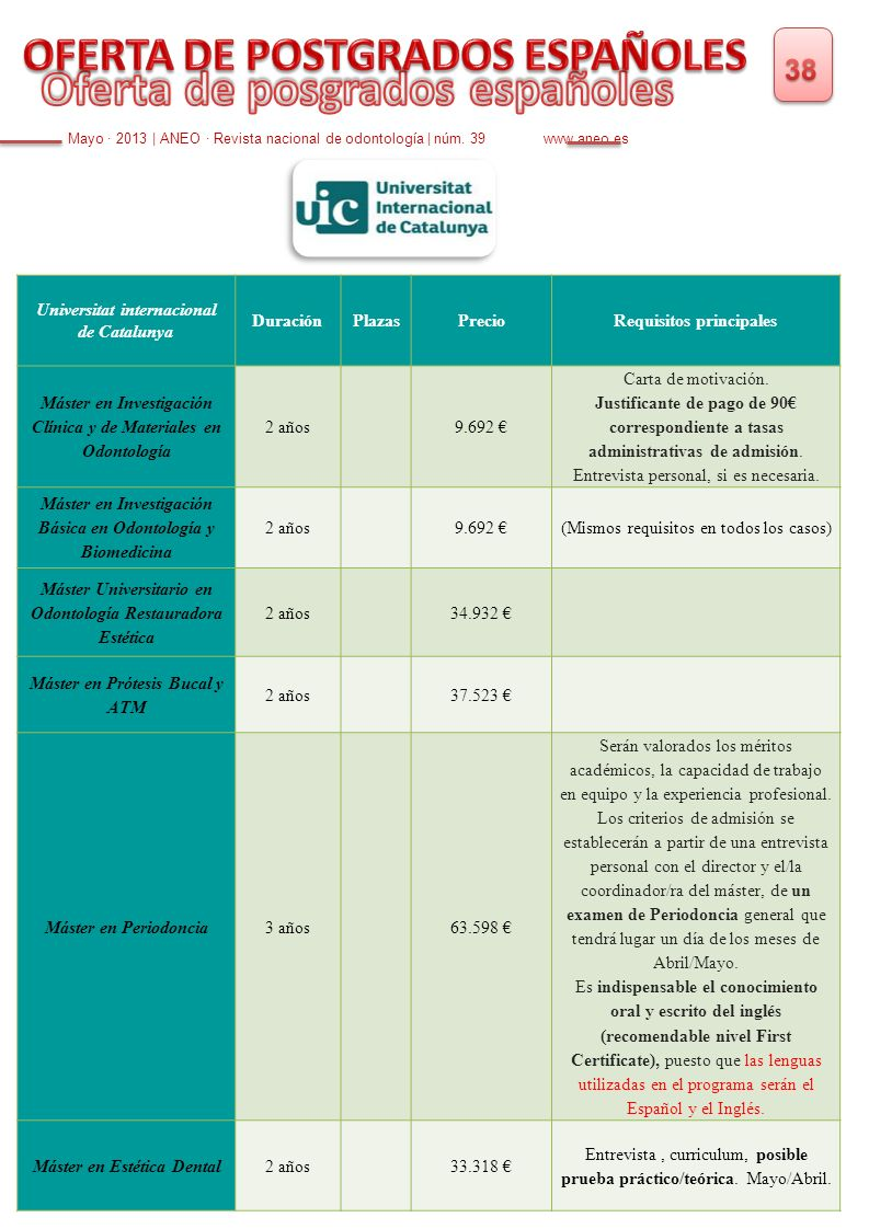 Mayo · 2013 | ANEO · Revista nacional de odontología | núm. 39 www.aneo.es Universitat internacional de Catalunya DuraciónPlazasPrecioRequisitos princ