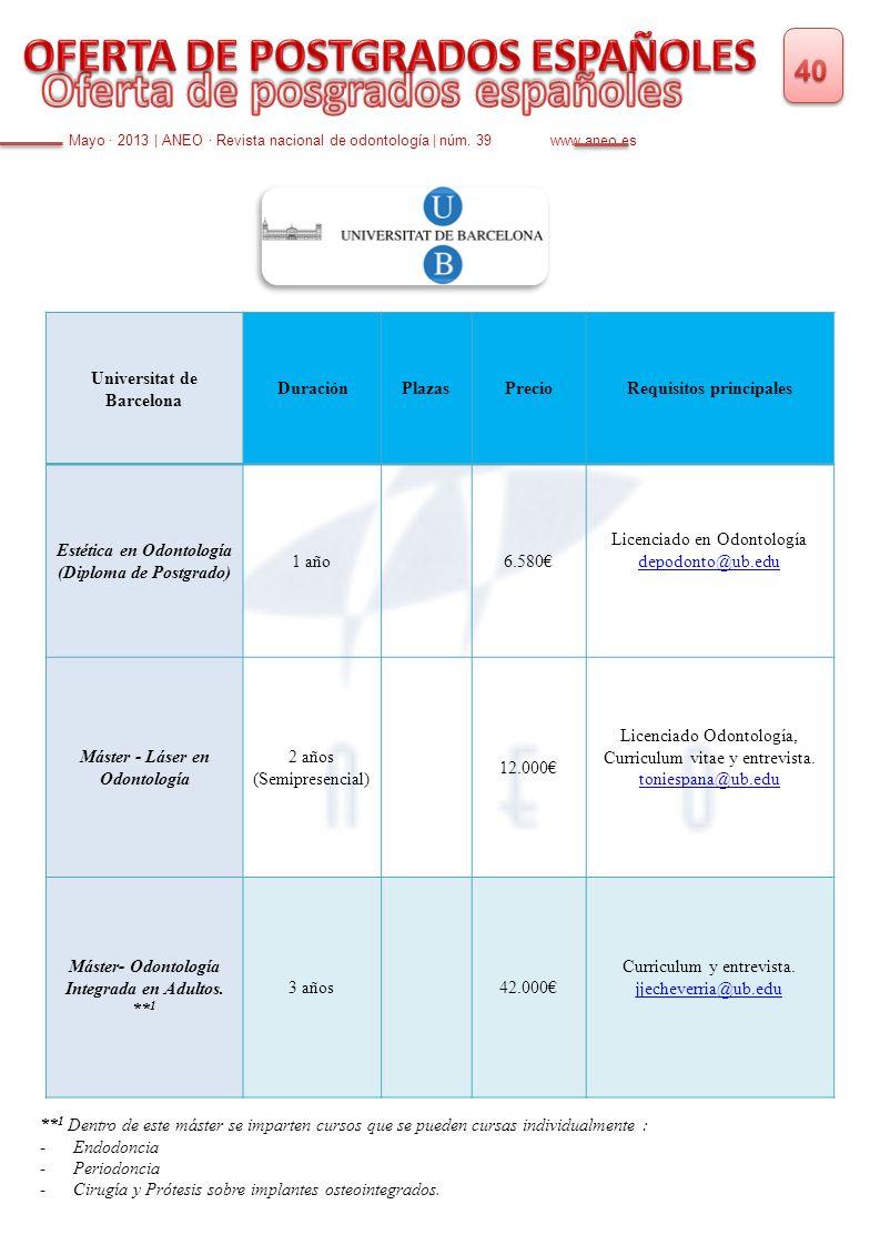 Mayo · 2013 | ANEO · Revista nacional de odontología | núm. 39 www.aneo.es Universitat de Barcelona DuraciónPlazasPrecioRequisitos principales Estétic