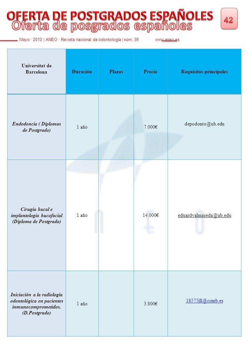 Mayo · 2013 | ANEO · Revista nacional de odontología | núm. 39 www.aneo.es Universitat de BarcelonaDuraciónPlazasPrecioRequisitos principales Endodonc