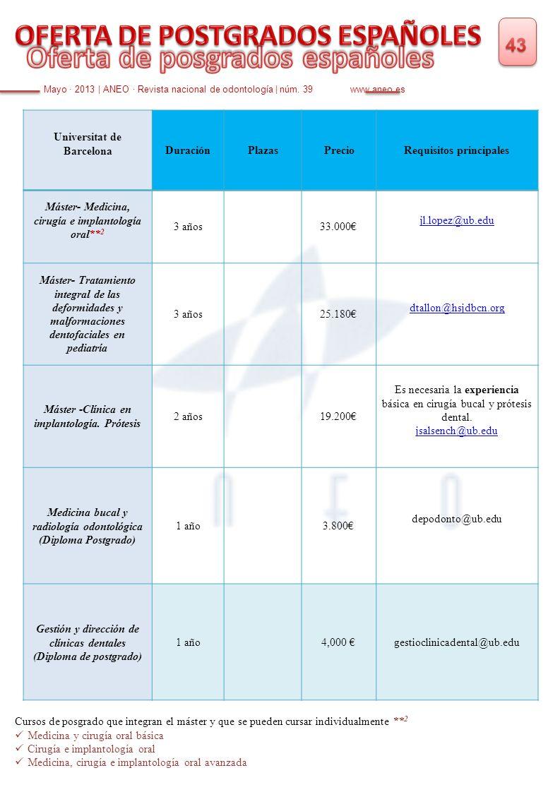 Mayo · 2013   ANEO · Revista nacional de odontología   núm. 39 www.aneo.es Universitat de BarcelonaDuraciónPlazasPrecioRequisitos principales Máster-