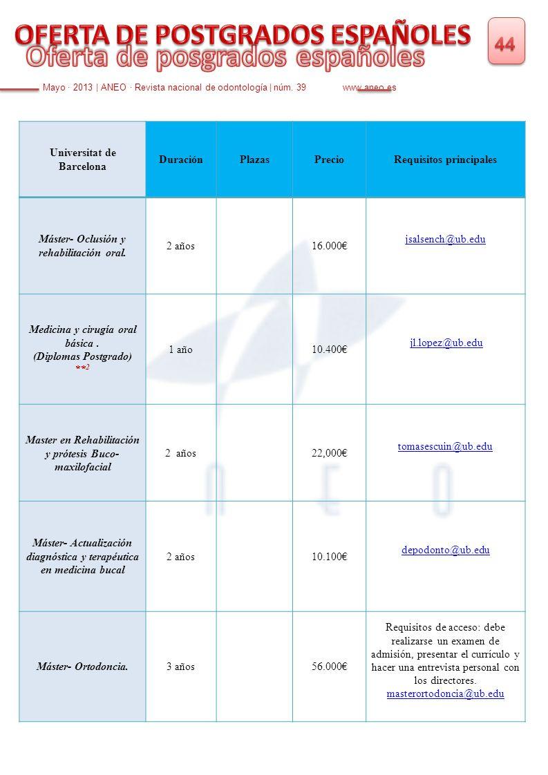 Mayo · 2013   ANEO · Revista nacional de odontología   núm. 39 www.aneo.es Universitat de Barcelona DuraciónPlazasPrecioRequisitos principales Máster-