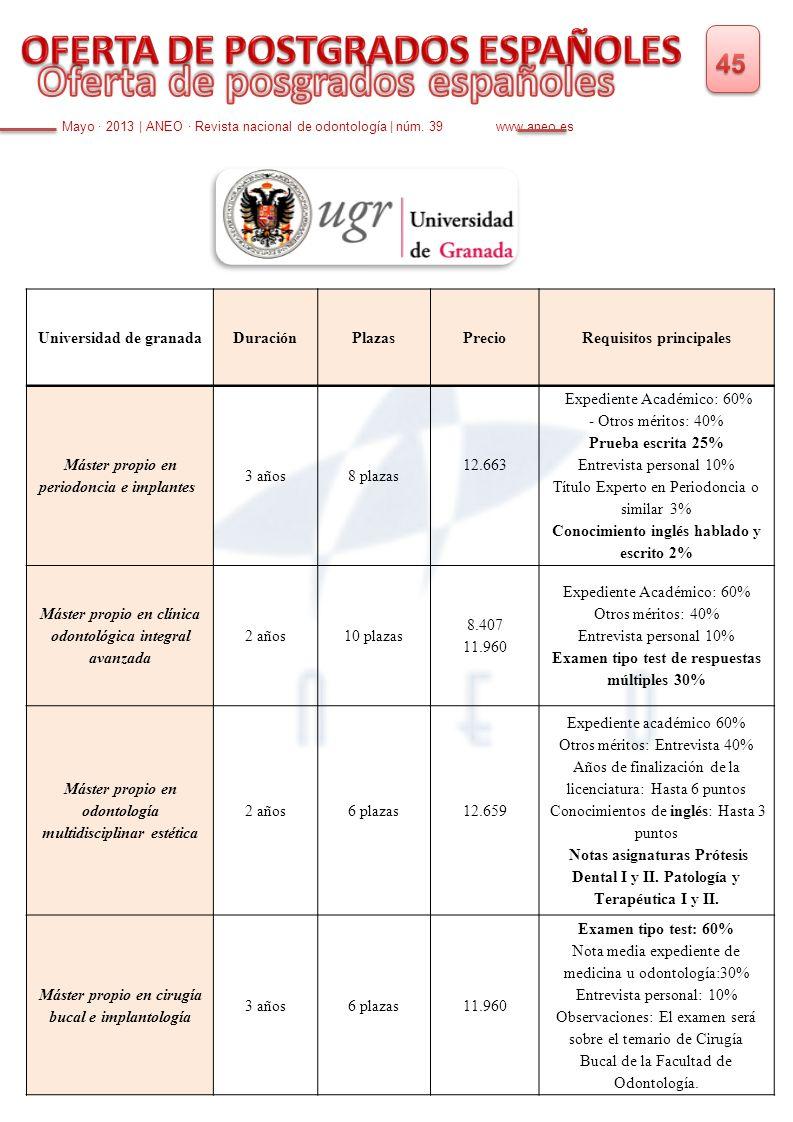 Mayo · 2013 | ANEO · Revista nacional de odontología | núm. 39 www.aneo.es Universidad de granadaDuraciónPlazasPrecioRequisitos principales Máster pro