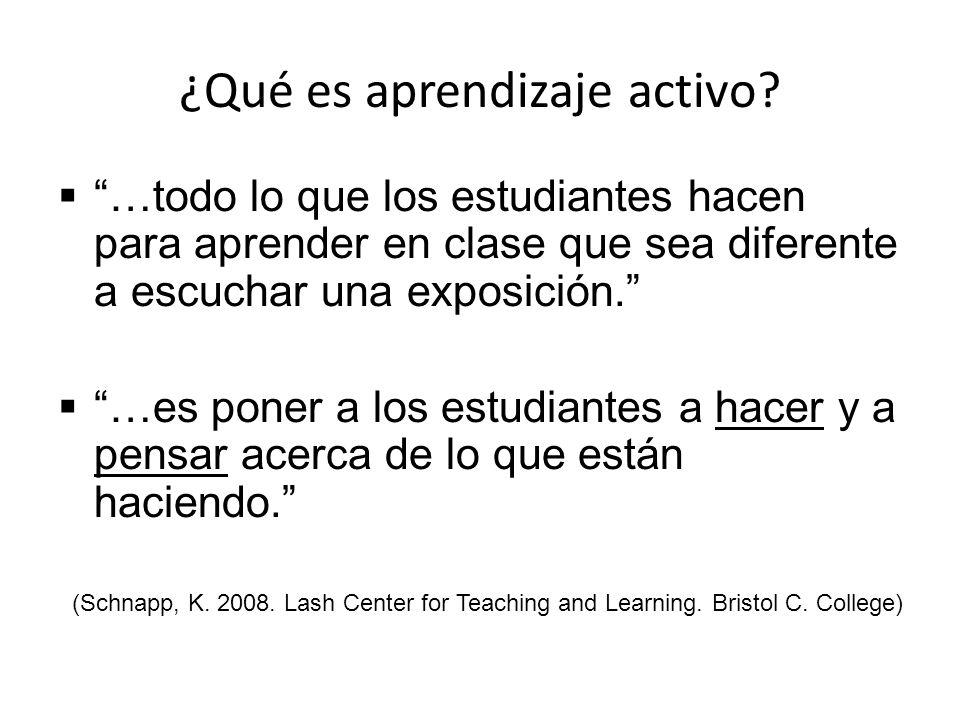 ¿Qué es aprendizaje activo? …todo lo que los estudiantes hacen para aprender en clase que sea diferente a escuchar una exposición. …es poner a los est
