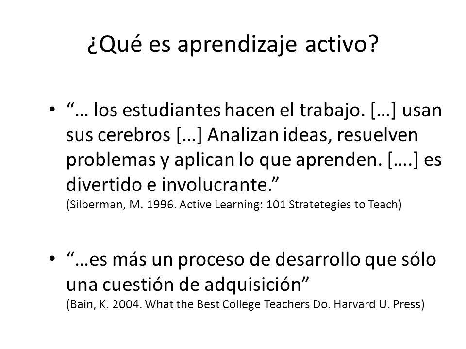 ¿Qué es aprendizaje activo? … los estudiantes hacen el trabajo. […] usan sus cerebros […] Analizan ideas, resuelven problemas y aplican lo que aprende