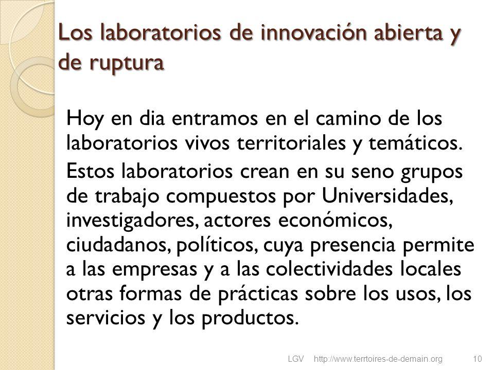Los laboratorios de innovación abierta y de ruptura Hoy en dia entramos en el camino de los laboratorios vivos territoriales y temáticos. Estos labora