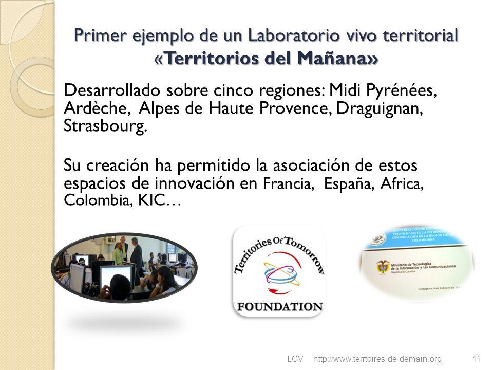 Primer ejemplo de un Laboratorio vivo territorial «Territorios del Mañana» Desarrollado sobre cinco regiones: Midi Pyrénées, Ardèche, Alpes de Haute P