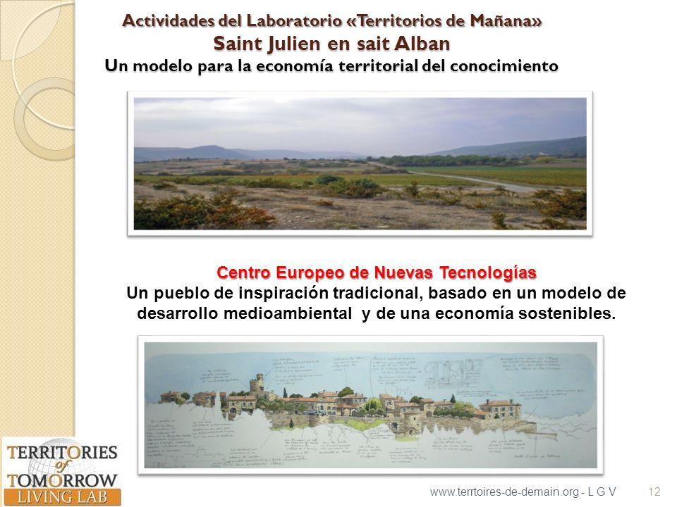 Actividades del Laboratorio «Territorios de Mañana» Saint Julien en sait Alban Un modelo para la economía territorial del conocimiento www.terrtoires-