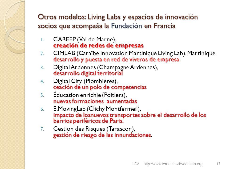 Otros modelos: Living Labs y espacios de innovación socios que acompaáa la Fundación en Francia creación de redes de empresas 1. CAREEP (Val de Marne)