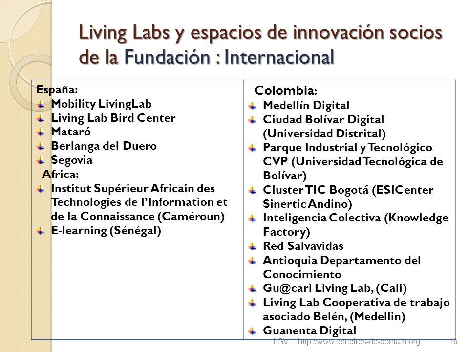 Living Labs y espacios de innovación socios de la Fundación : Internacional LGVhttp://www.terrtoires-de-demain.org19 España: Mobility LivingLab Living