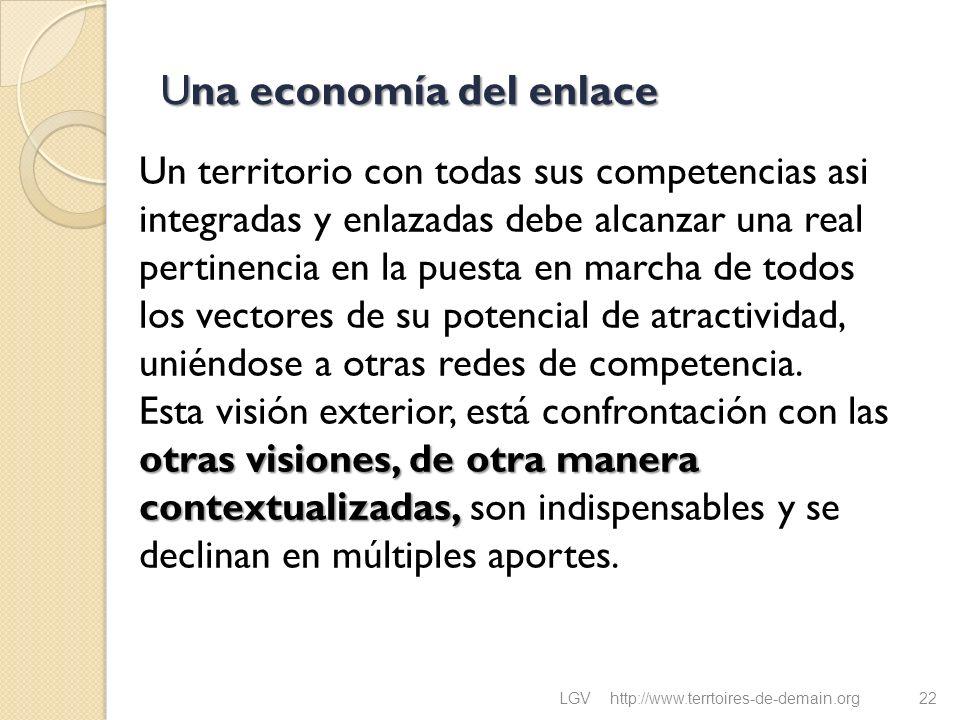 Una economía del enlace otras visiones, de otra manera contextualizadas, Un territorio con todas sus competencias asi integradas y enlazadas debe alca