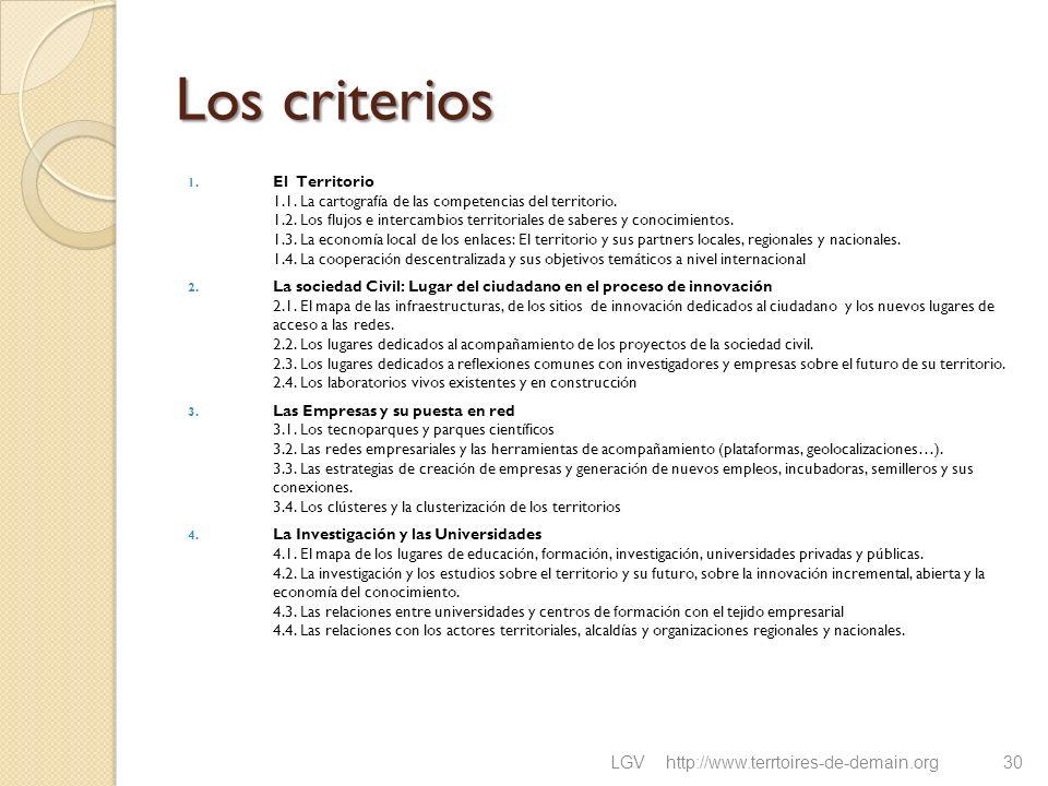 Los criterios 1. El Territorio 1.1. La cartografía de las competencias del territorio. 1.2. Los flujos e intercambios territoriales de saberes y conoc