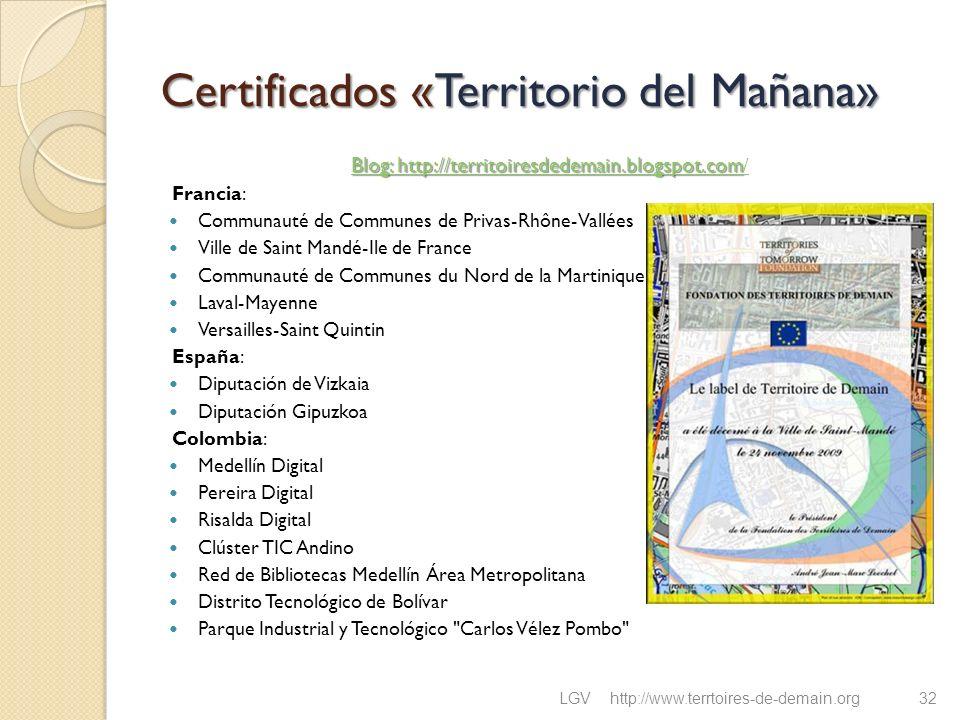 Certificados «Territorio del Mañana» Blog: http://territoiresdedemain.blogspot.com Blog: http://territoiresdedemain.blogspot.com / Francia: Communauté