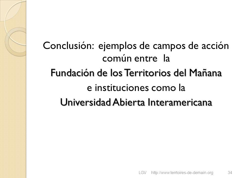 Conclusión: ejemplos de campos de acción común entre la Fundación de los Territorios del Mañana e instituciones como la Universidad Abierta Interameri