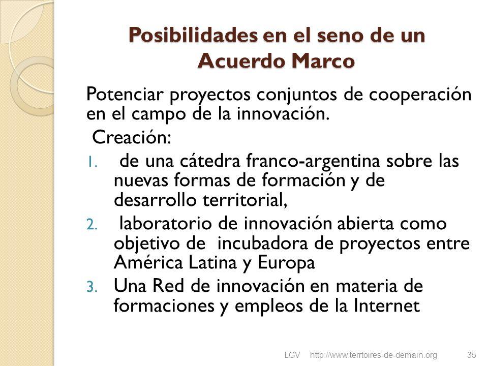Posibilidades en el seno de un Acuerdo Marco Potenciar proyectos conjuntos de cooperación en el campo de la innovación. Creación: 1. de una cátedra fr
