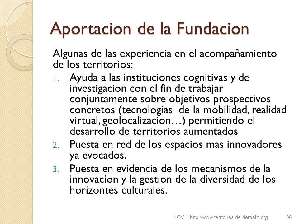Aportacion de la Fundacion Algunas de las experiencia en el acompañamiento de los territorios: 1. Ayuda a las instituciones cognitivas y de investigac