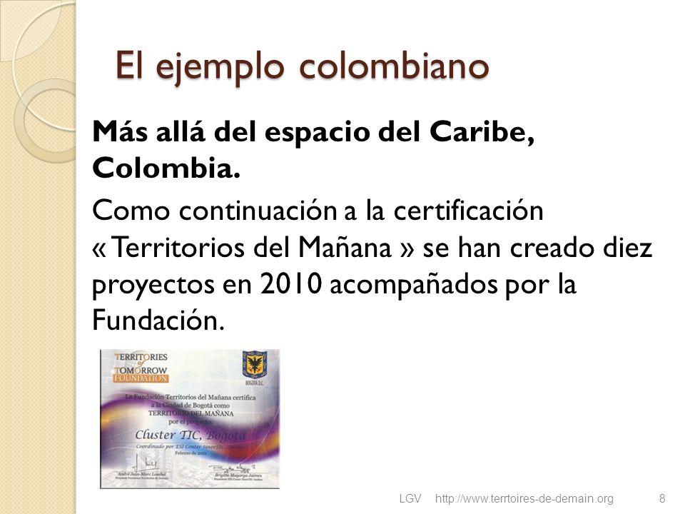 El ejemplo colombiano Más allá del espacio del Caribe, Colombia. Como continuación a la certificación « Territorios del Mañana » se han creado diez pr