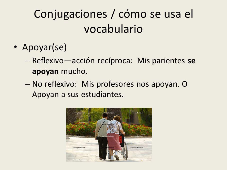 Conjugaciones / cómo se usa el vocabulario Apoyar(se) – Reflexivoacción recíproca: Mis parientes se apoyan mucho. – No reflexivo: Mis profesores nos a