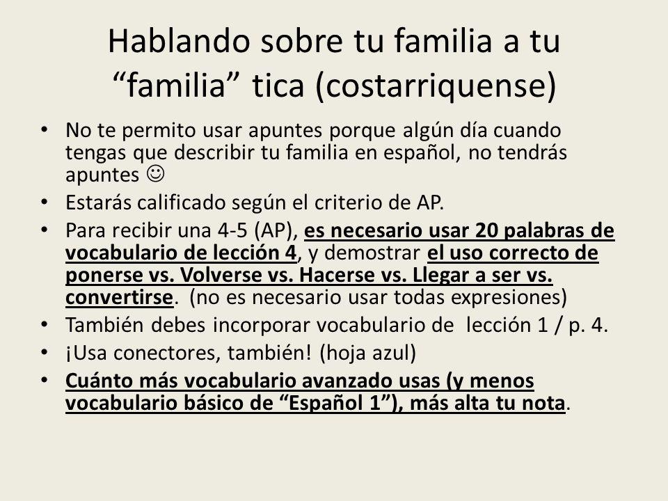 Hablando sobre tu familia a tu familia tica (costarriquense) No te permito usar apuntes porque algún día cuando tengas que describir tu familia en esp