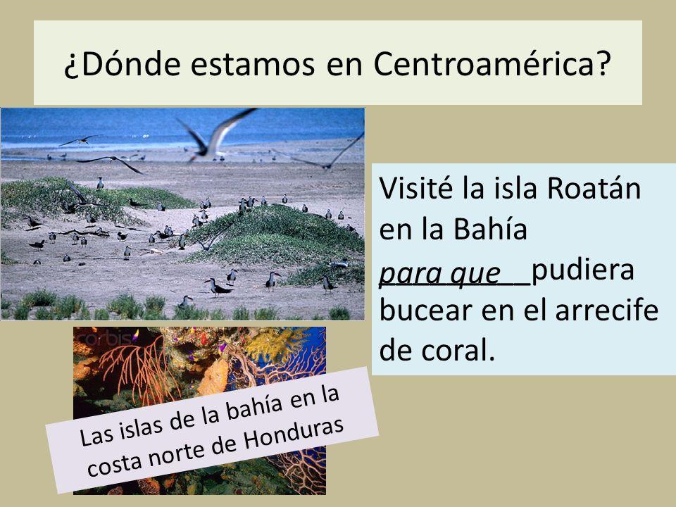 ¿Dónde estamos en Centroamérica? Visité la isla Roatán en la Bahía _________pudiera bucear en el arrecife de coral. para que Las islas de la bahía en