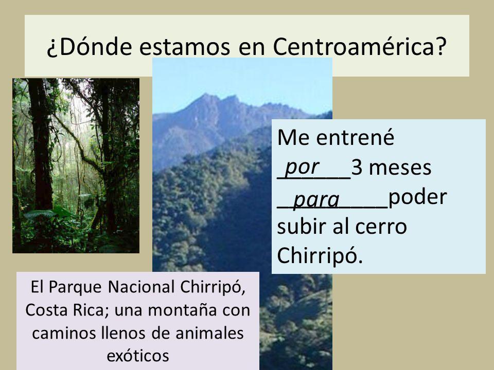 ¿Dónde estamos en Centroamérica? Por El Parque Nacional Chirripó, Costa Rica; una montaña con caminos llenos de animales exóticos Me entrené ______3 m