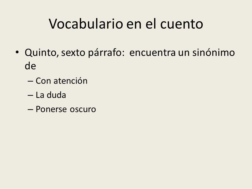 Vocabulario en el cuento Quinto, sexto párrafo: encuentra un sinónimo de – Con atención – La duda – Ponerse oscuro