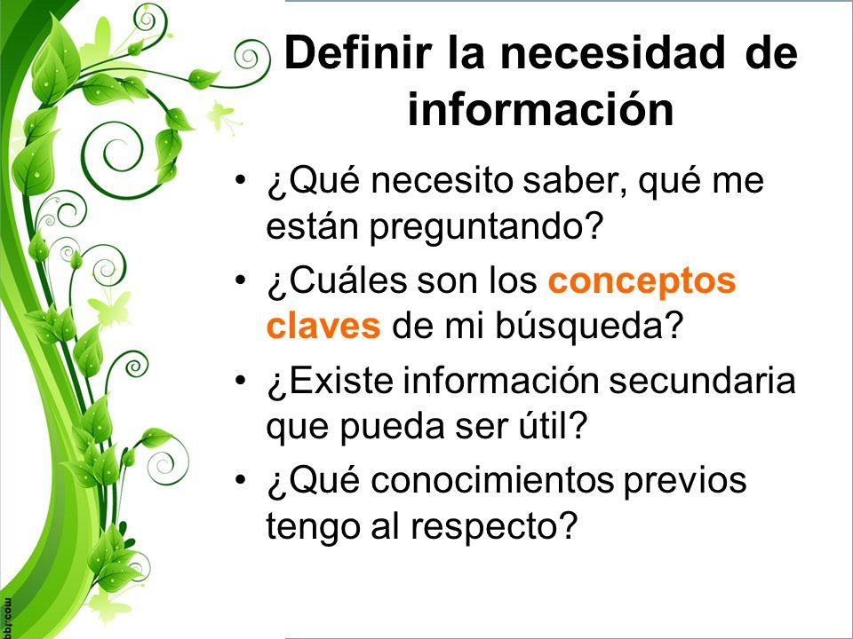 Definir la necesidad de información Me pregunto: –¿Qué se yo….