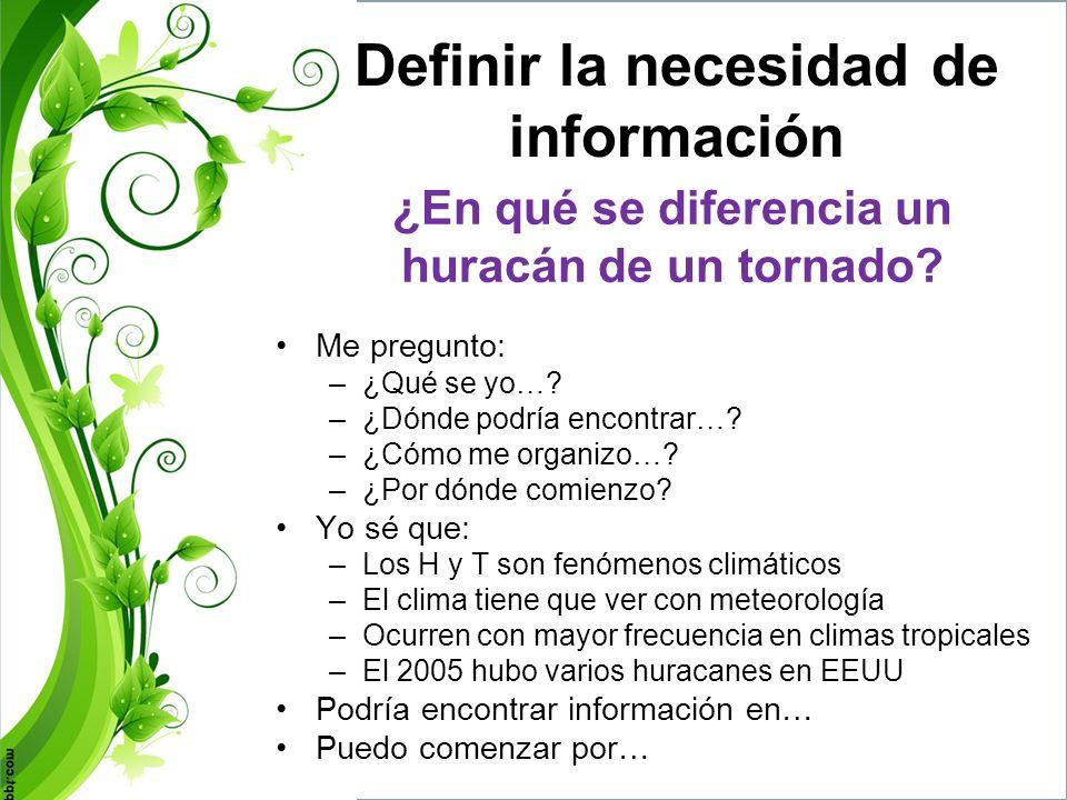 Identificar, buscar y evaluar fuentes de información ¿Cuáles son mis fuentes de información.