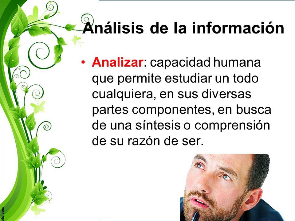 Análisis de la información Lectura cuidadosa de la información encontrada, discriminando lo que sirve.