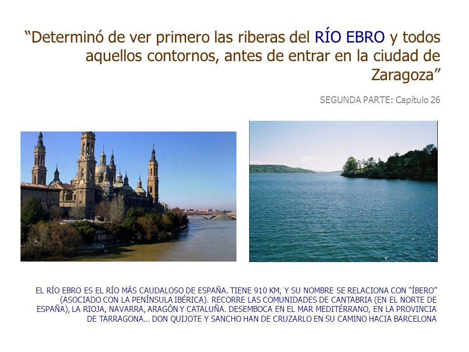 Determinó de ver primero las riberas del RÍO EBRO y todos aquellos contornos, antes de entrar en la ciudad de Zaragoza SEGUNDA PARTE: Capítulo 26 EL R