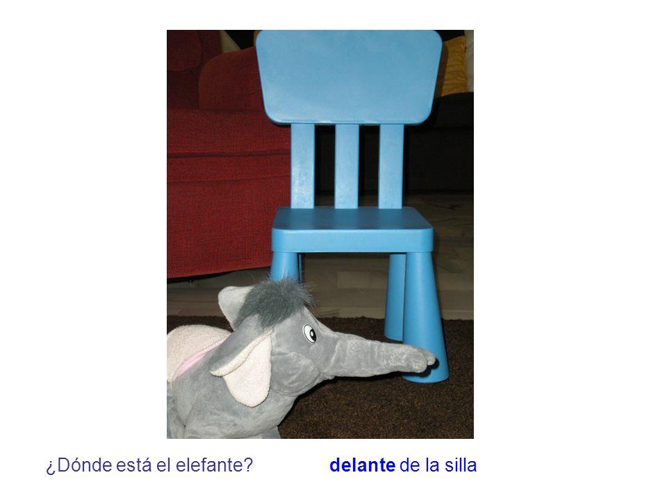 ¿Dónde está el elefante?delante de la silla