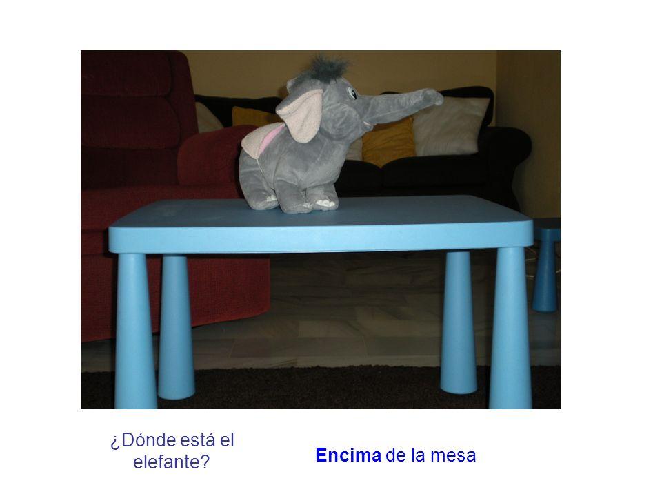 ¿Dónde está el elefante? Encima de la mesa