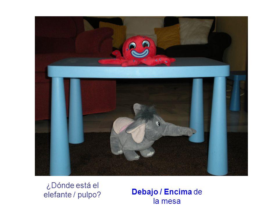 ¿Dónde está el elefante / pulpo? Debajo / Encima de la mesa