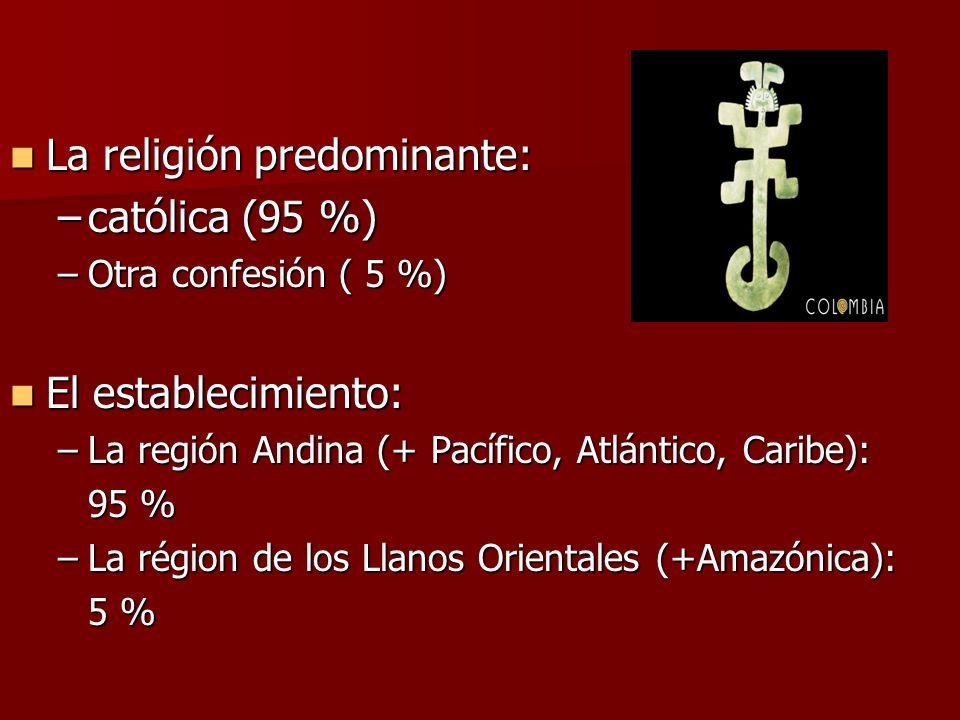 La religión predominante: La religión predominante: –católica (95 %) –Otra confesión ( 5 %) El establecimiento: El establecimiento: –La región Andina (+ Pacífico, Atlántico, Caribe): 95 % –La région de los Llanos Orientales (+Amazónica): 5 %